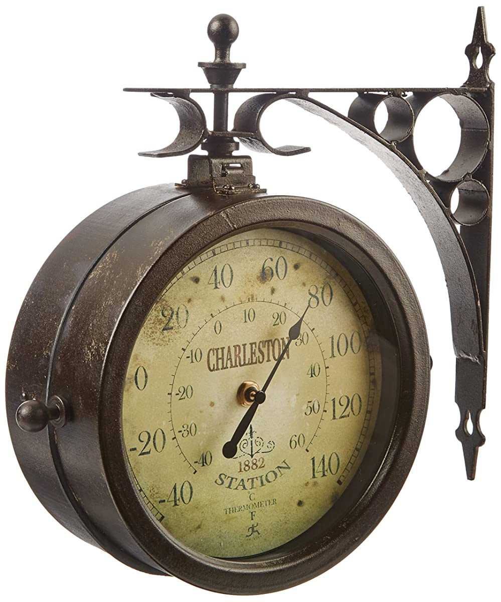 "Infinity Indoor/Outdoor 8"" The Charleston Double Sided Clock & Thermometer - 12430CT-RUV2"