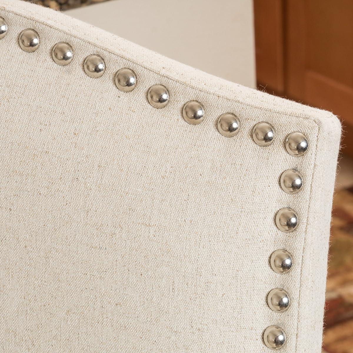 Auburn Ivory Fabric Backed Barstool (Set of 2)
