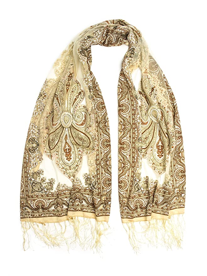 Vintage Scarves- New in the 1920s to 1960s Styles Fringed Sheer Burnout Fleur de Lis Scarf $13.95 AT vintagedancer.com
