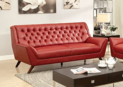 Furniture of America Aster Retro Sofa, Red