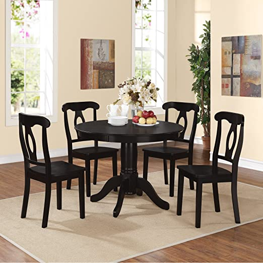 Deluxe 5 Piece Dining Room Set Furniture for 4, Black