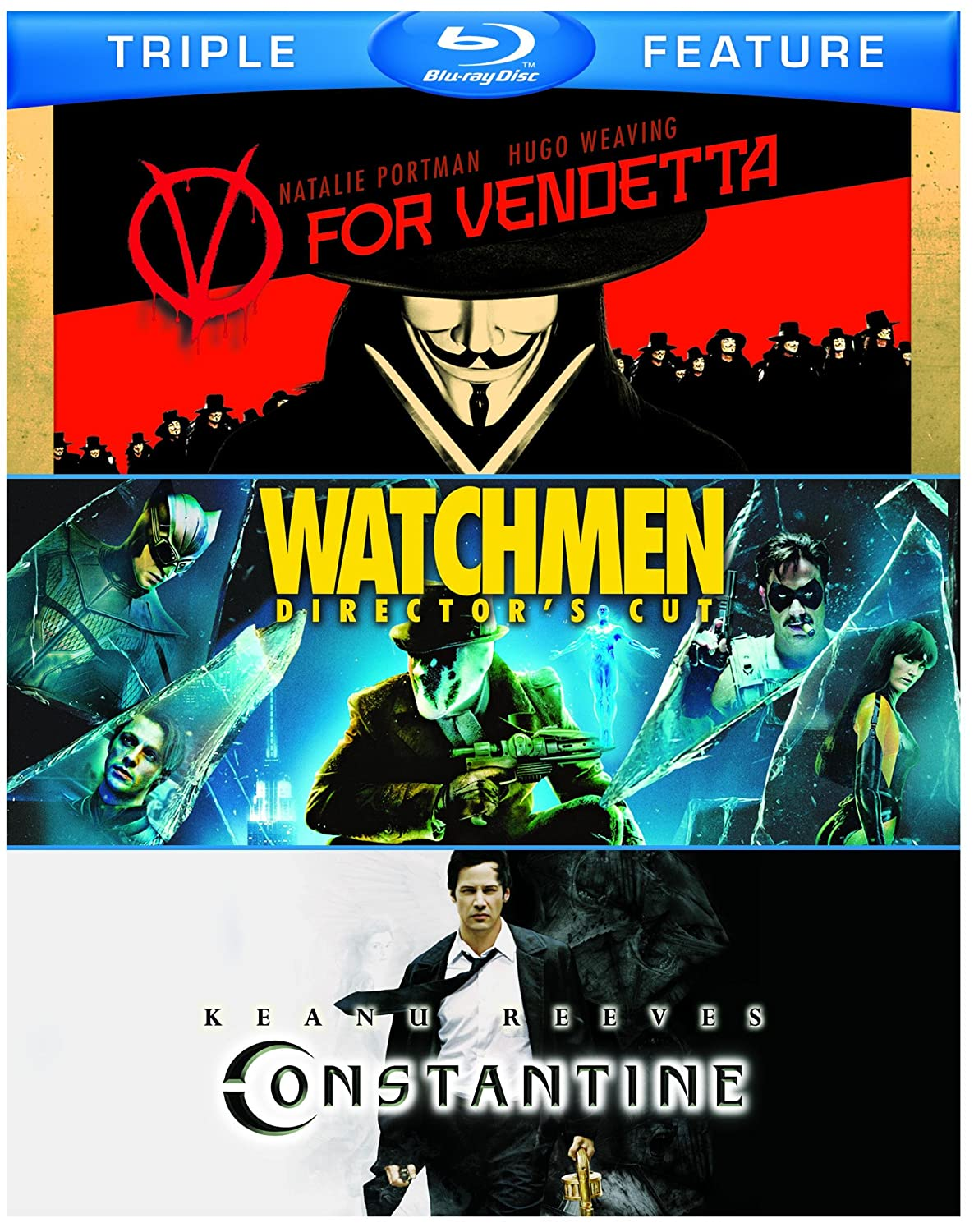 V for Vendetta / Watchmen / Constantine (Triple-Feature) [Blu-ray] $12.30