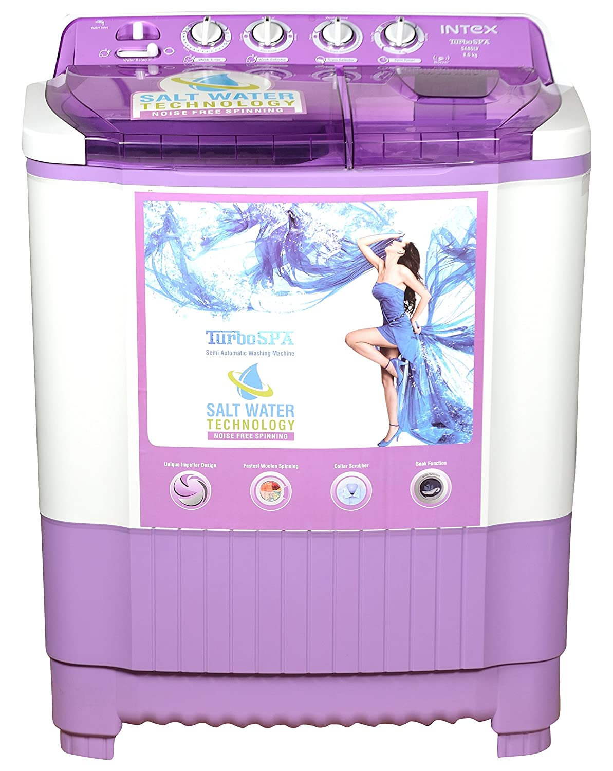Intex WMSA80LV Semi-automatic Top-loading Washing Machine (8 Kg, White and Lavender) By Amazon @ Rs.8,560