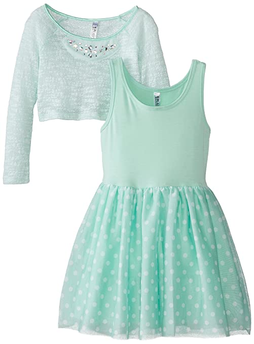 Beautees-Big-Girls-Polka-Dot-Dress-with-Popover-Sweater