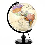 """Illuminated Antique World Globe (10""""/25 cm diameter) – Premium Antique Desktop World Globe, Perfect for Home & Office Décor, Over 4,000 Place Names, Energy-Saving LED, Weighted Base"""
