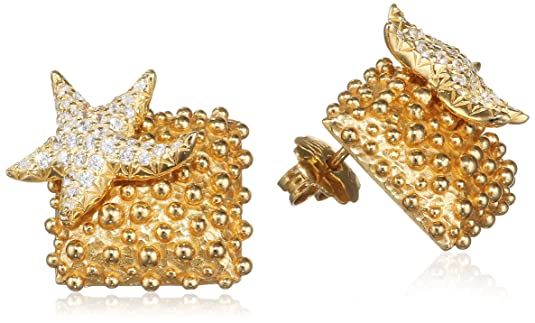 Misis Moorea Women's Stud Earrings 925 Sterling Silver Gold-Plated with White Zirconia 2 CM-Or09201