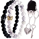 Long Distance Matching Bracelets for Couples Keychain for Him and Her His Hers King Queen Boyfriend Girlfriend Relationship Love Set Black White Beaded Stones Cute Valentines Day Gifts Adjustable (Color: Black, White, Silver, Gold)