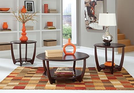 Standard Furniture Seattle II Round Dark Cherry Wood 3 Piece Coffee Table Set