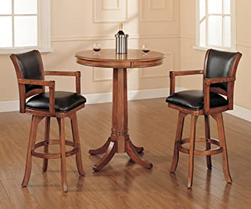 Hillsdale Park View 3-Piece Bar Set, Medium Brown Oak