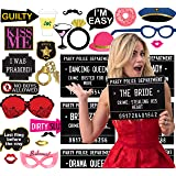 40 Unique Crimes on Fun Bachelorette Party Mugshots! Includes 34 pieces of Photo Booth Props, Game and Activity instructions included! Also a great idea for Birthdays, Girls Night Out, Stagettes, NYE, Hen Parties, Gift,Party supplies!