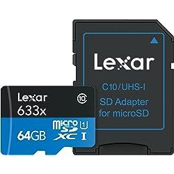 Lexar 64GB UHS-I / U1 633x microSDXC Memory Card with SD Adapter