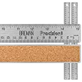 Breman Precision Stainless Steel Metal Rulers I Straight Edge Rulers with Inch and Metric Graduations for School Office Engineering Woodworking I Flexible with Non-Slip Cork Back I 15-Inch 2-Pack (Color: 15
