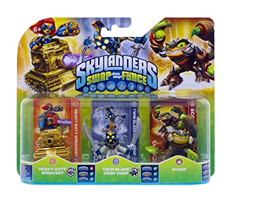Figurine Skylanders : Swap Force - Scorp + Twin Blade Chop Chop + Heavy Duty Sprocket
