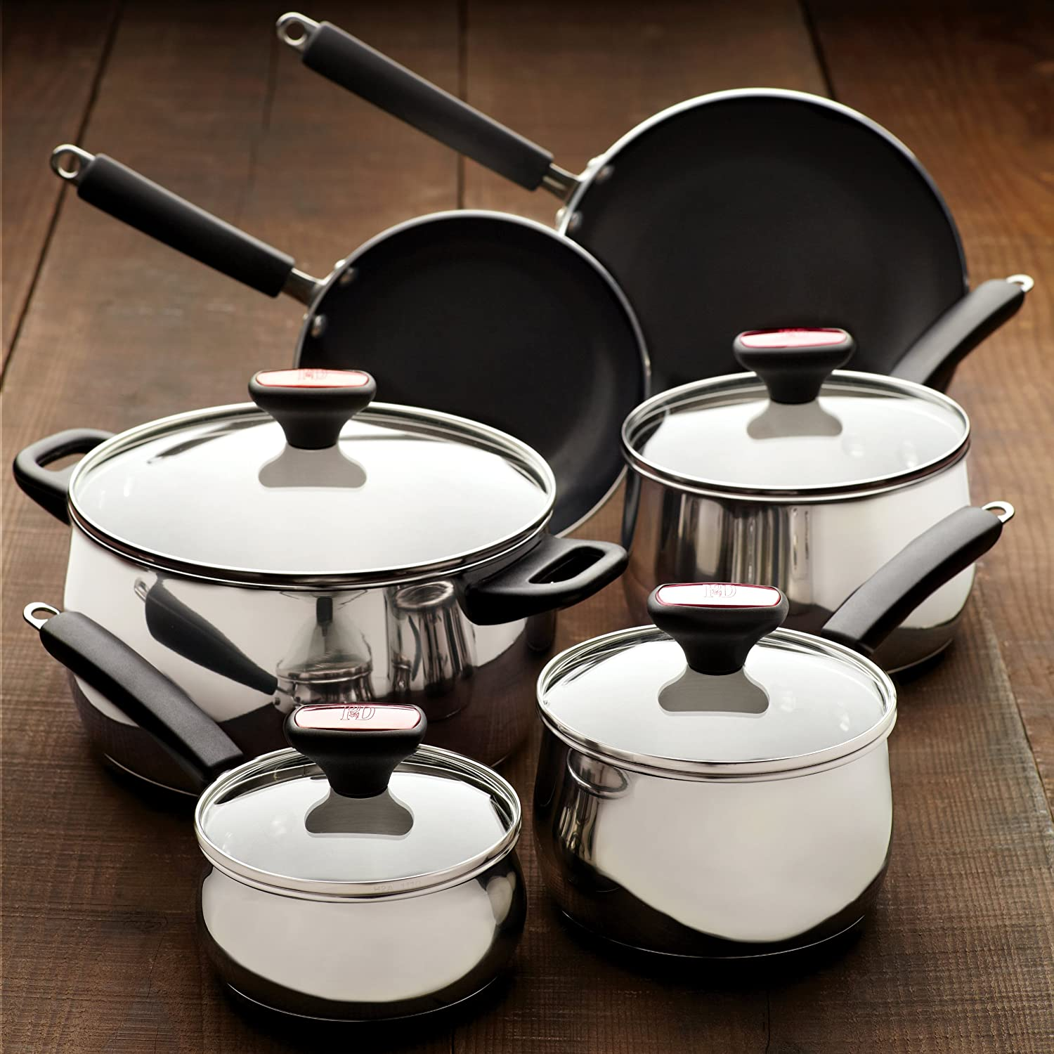 12 Piece Nonstick Cookware Set Stainless Steel Aluminum