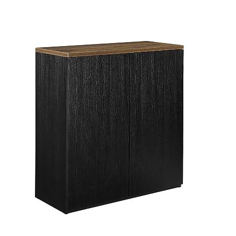 [neu.haus] Meuble-classuer étagère noir 100x90cm chêne smoked livres mobilier de bureau buffet