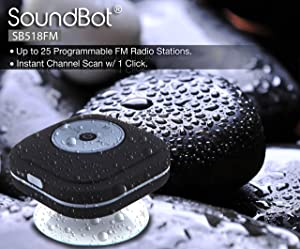 SoundBot® SB518FM FM RADIO Water Resistant Bluetooth Wireless Shower Speaker Hands-Free Portable Speakerphone w/ Smart One Touch Auto-Scan, 6Hrs Musi