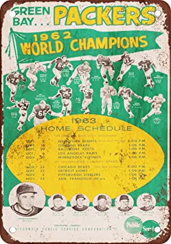 1963 Green Bay Packers Schedule Vintage Look Reproduction
