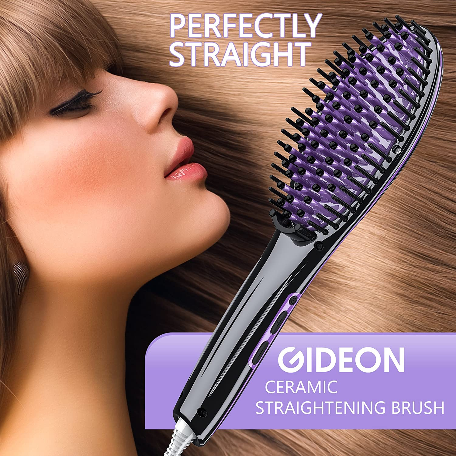 Gideon™ Heated Hair Brush Straightener - Amazing and Innovative Hair Straightener / Achieve Salon Quality Straight Hair in Minutes