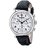 Wenger Men's 01.1043.105 Urban Classic Stainless Steel Watch with Textured Band (Color: White Dial, Black Leather Strap)