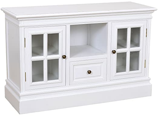 Cómoda con dos puertas de cristal y un cajón del armario de madera de colour blanco shabby chic