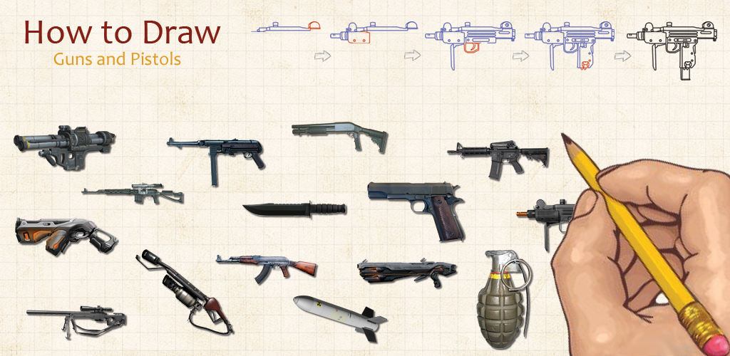 how to draw easy guns