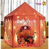 Monobeach Princess Tent Girls Large Playhouse Kids Castle Play Tent 20 Feet Star Lights Children Indoor Outdoor Games, 55'' x 53'' (DxH) (Color: Pink, Tamaño: Pink 1)