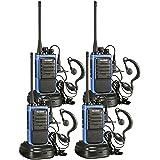 RADIOS BIDIRECCIONALES RECARGABLES DE LARGO ALCANCE ARCSHELL, con auricular Pack de 4 micrófonos cuádruples UHF 400-470MHz Walkie Talkies y cargador incluidos