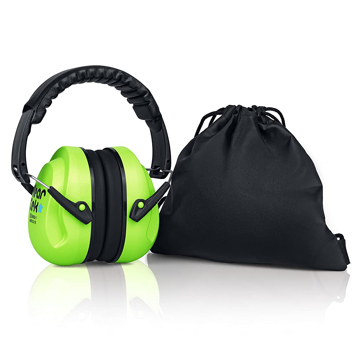 HearTek Kids Earmuffs Hearing Protection with Travel Bag- Junior Ear Defenders For Children, Padded Ear Protection, Small Adults, Women - Adjustable Protector Noise Reduction Ear Muffs