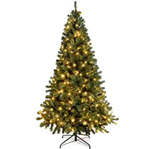 WeRChristmas 6 ft/ 1.8 m Spruce Pre Lit Multi Function Christmas Tree with 200 Warm White LED Lights/ 8 Setting Controller/ Easy Build Hinged Branches, Emerald Green       review and more description