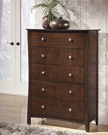 Rayville Contemporary Tobacco Color Stained Finish Five Drawer Bedroom Chest