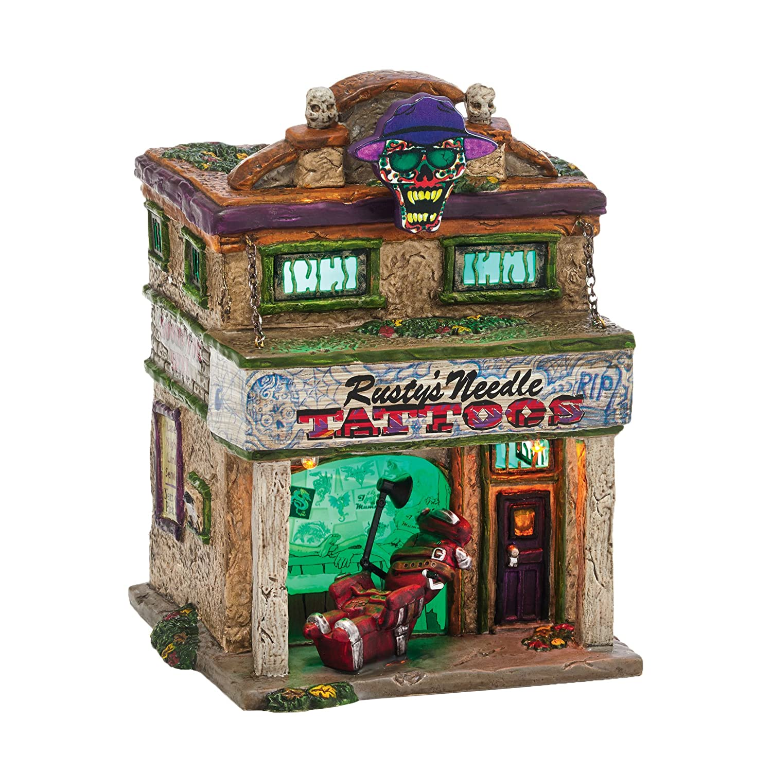 Department 56 Snow Village Halloween Rusty's Needle Lit House, 6.9-Inch