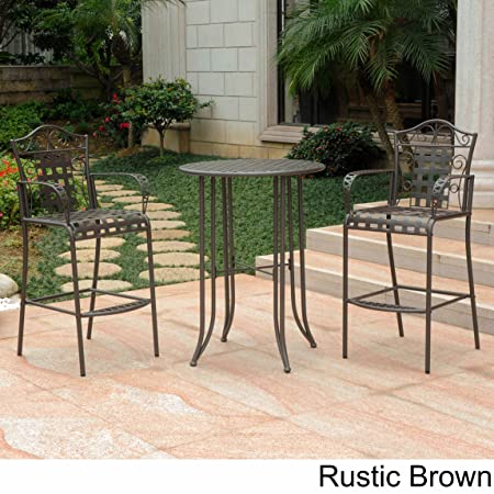 3-piece Bistro Set with 2 Bar Chairs and a Table. Four Different Colors to Choose From. Made of Iron. Indoor or Outdoor Patio Furniture. Scented Tart Included (Rustic Brown)