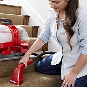Rug Doctor Portable Spot Cleaner; Removes Stains and Neutralizes Odors for Clean and Fresh Results in the Home, Office or Auto; Leading Portable Machine Cleans Carpet, Rugs and Upholstery (Renewed) (Color: Red, Tamaño: Small)