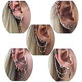 Milacolato Cuff Earrings Set Boho Crawler Earrings for Women Girls Antique Bohemian Tribal Stud Hoop Earrings Punk Cartilage Earings
