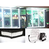 60ft Super bright storefront LED light pure white 5630 injection module with UL 12v AC Power package (Color: white)