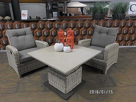 Salón de la mesa de serie Soho de playa de el café de mesa de centro de alta calidad por medio de pistón de gas regulable en altura de fácil de la piedra de la mesa 90 x 90 cm