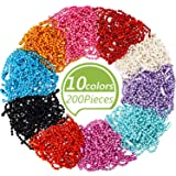 WILLBOND 200 Pieces Ball Bead Metal Chain Mixed Color Bead Metal Chain Necklace with Connectors for Tags Chain,Key Chain,Jewelry Findings,Craft Projects,2.4mm