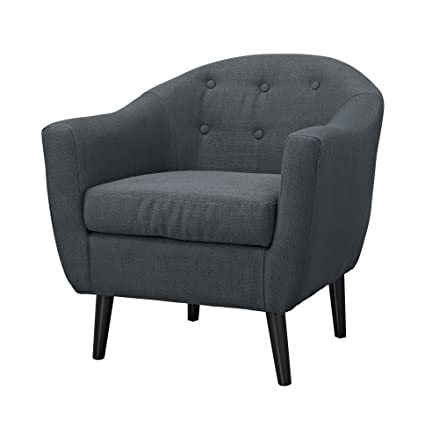 ModHaus Mid Century Style Charcoal Gray Button Tufted Upholstered Accent Armchair with Tapered Espresso Wood Legs