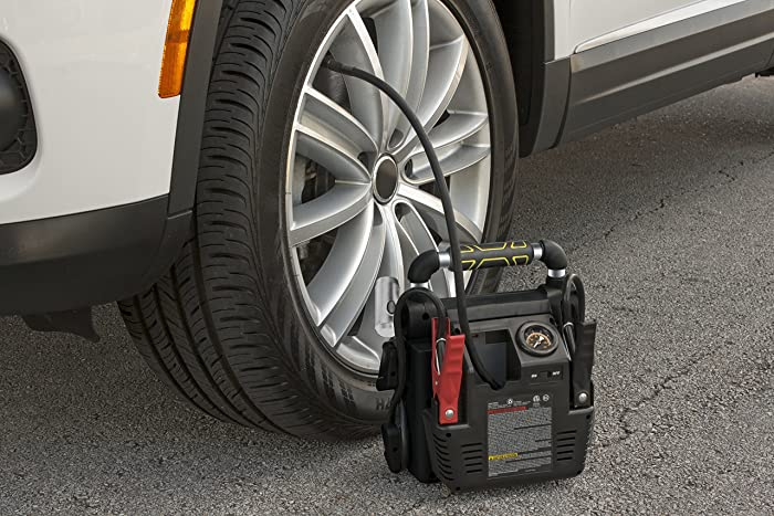 The Stanley J5C09 also comes with the air compressor