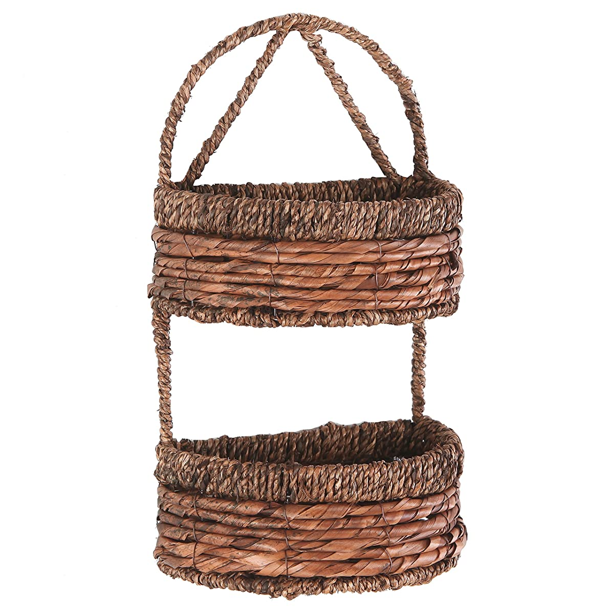 2-Tier Handwoven Brown Seagrass Half Circle Decorative Storage Basket - MyGift