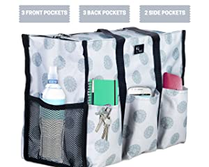 e503c683a1ee Pursetti Zip-Top Organizing Utility Tote Bag with Multiple Exterior   Interior  Pockets for Working Women