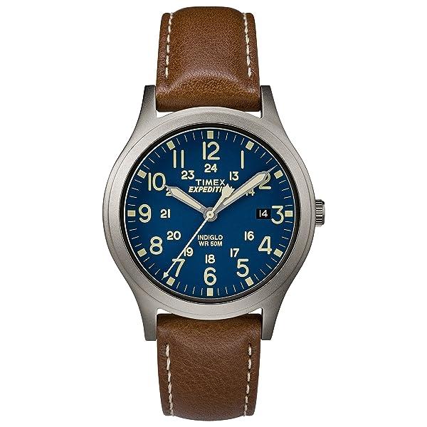 RELOJ TIMEX UNISEX - TW4B11100 Expedición Scout 36, Correa de cuero marrón/ titanio/azul Reloj