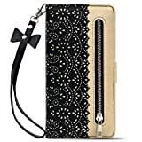 Luxury Flip Wallet Case for iPhone 11 Pro (5.8 Inch),Printed Lace Folio Kickstand Feature with Wristlet Lanyard Card Slots Cover for Apple 11Pro (Black)