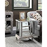 Convenience Concepts Gold Coast Collection 3-Drawer Mirrored End Table, Weathered White/Mirror (Color: Weathered White / Mirror)