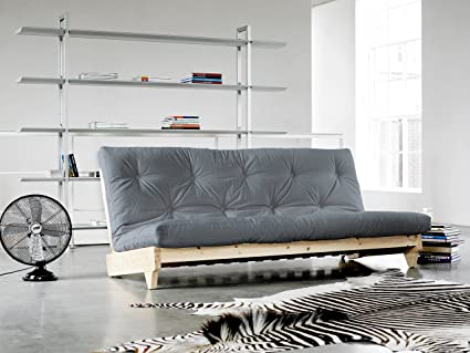 KARUP - FRESH, smart sofa-bed, futon light grey, natural wood frame