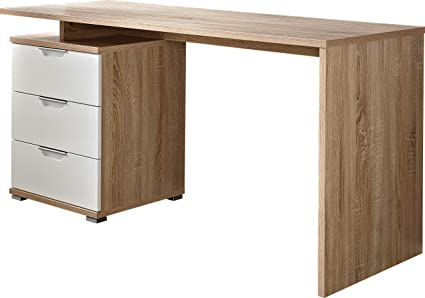 Germania 0490-157 Schreibtisch 490, 145 x 75 x 60 cm, sonoma-eiche Nachbildung / weiß