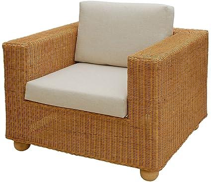 Breiter Rattan-Sessel LOUNGE inkl. Sitz- und Ruckenpolster Beige, Wohnzimmersessel aus echtem Rattan (Honig)