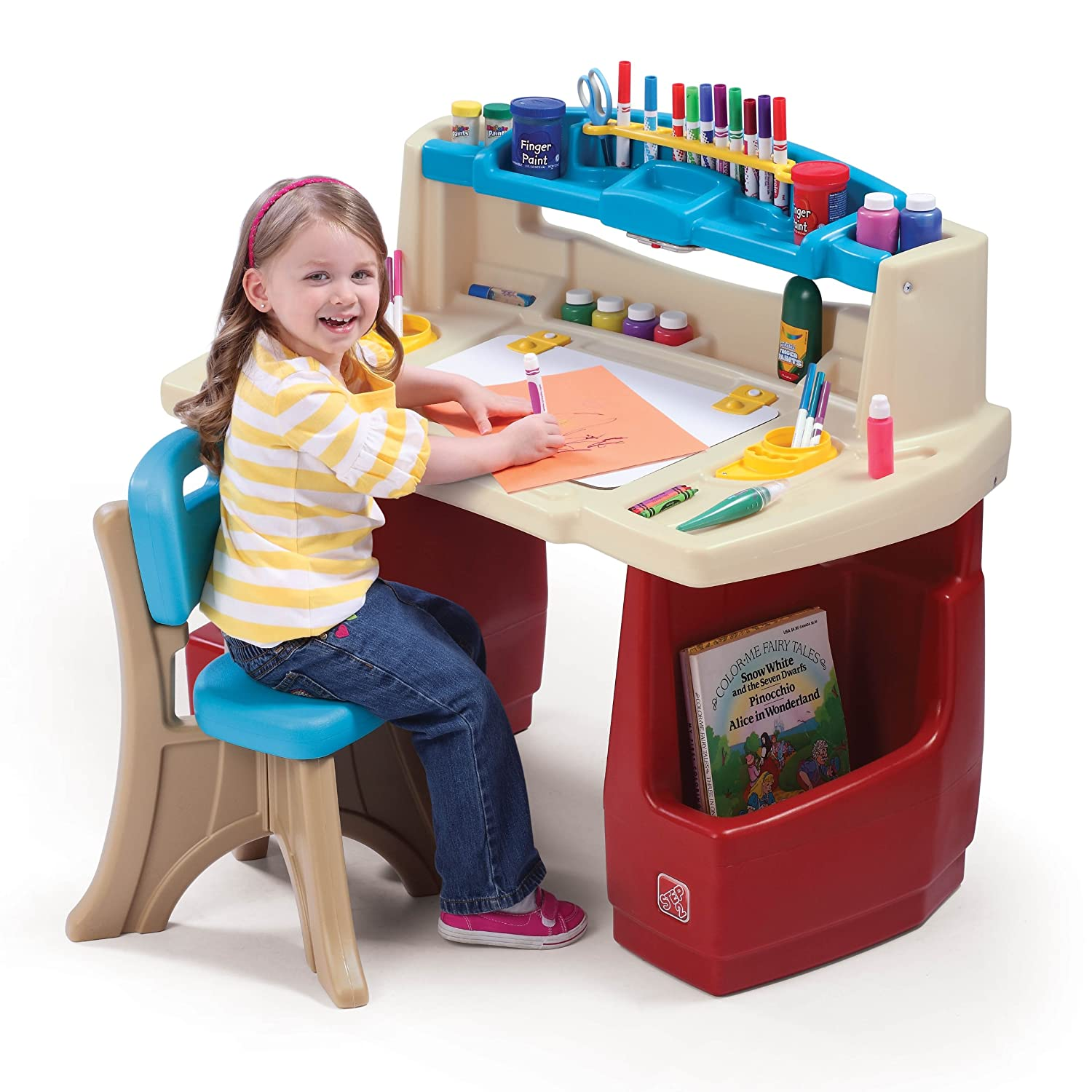 Kids art desk set deluxe playroom activity craft storage for Best desk chair for kids