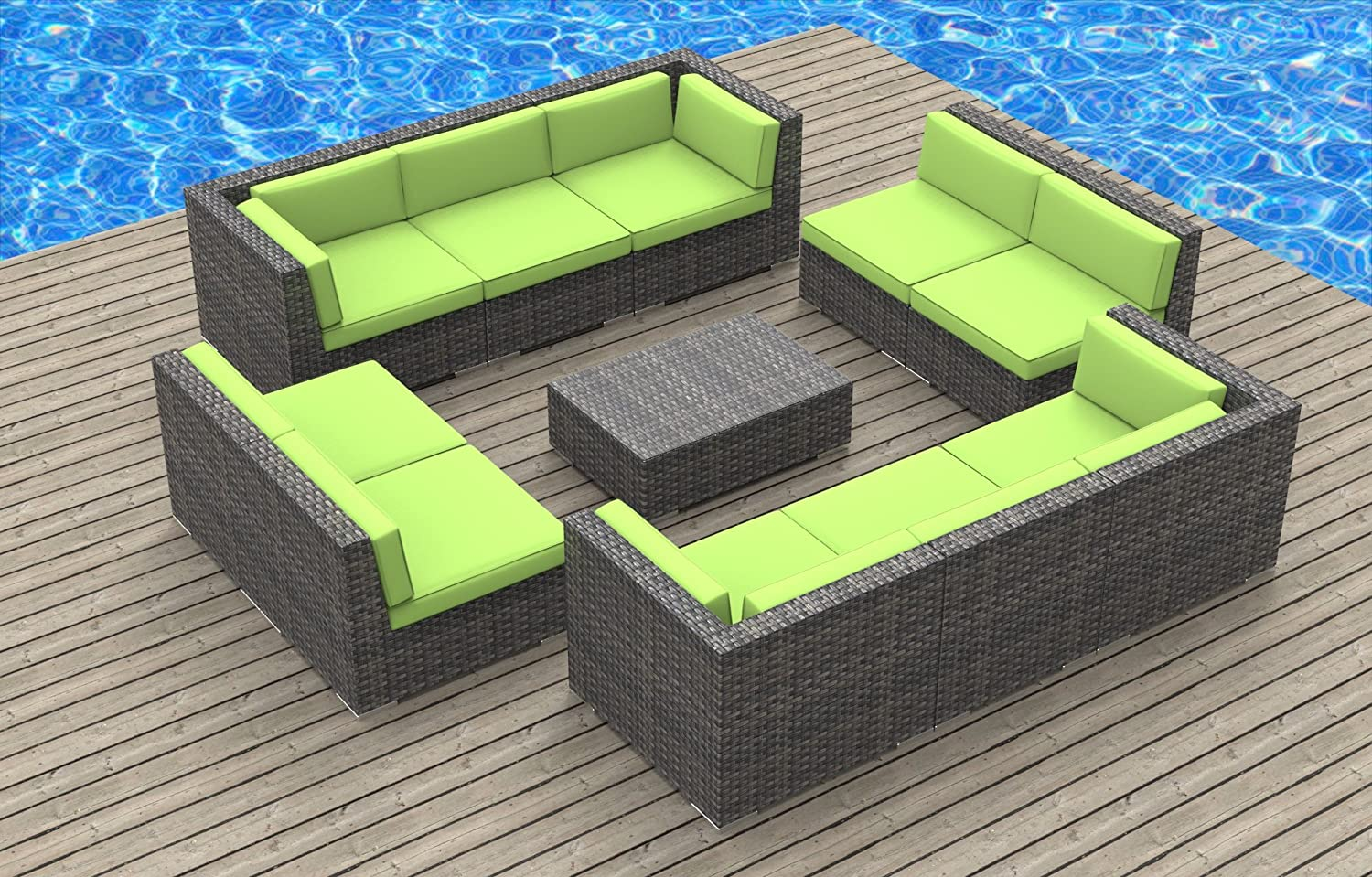 www.urbanfurnishing.net Urban Furnishing - BERMUDA 11pc Modern Outdoor Backyard Wicker Rattan Patio Furniture Sofa Sectional Couch Set - Lime Green at Sears.com