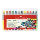 Faber-Castell Gel Crayons - 12 Vibrant Colors in Durable Storage Case (Color: A, Tamaño: 1 - Pack)